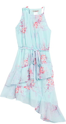 Love Squared Floral Ruffled Sleeveless High/Low Dress