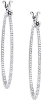 1/2 CT TW Diamond 10K White Gold In/Out Hoop Earrings by Moda Di Oro