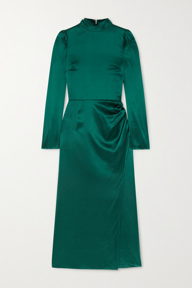 Reformation Carmelina Gathered Silk-satin Midi Dress - Emerald