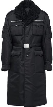 Prada shearling collar military coat