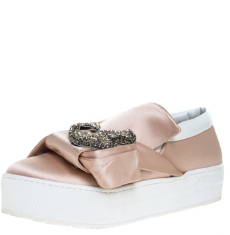 N°21 N21 Beige Satin Crystal Embellished Bow Skate Cat Slip on Sneakers Size 37