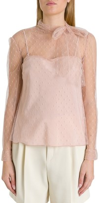 RED Valentino Pussy Bow Tulle Blouse