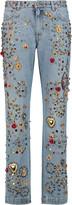 Dolce & Gabbana Embellished mid-rise straight-leg jeans