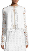 Elie Tahari Annabella Textured Lace-Panel Jacket, White