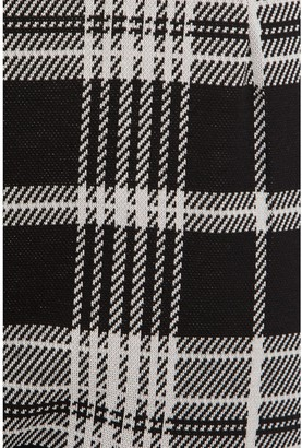 Quiz Jacquard Check Button Trouser - Black