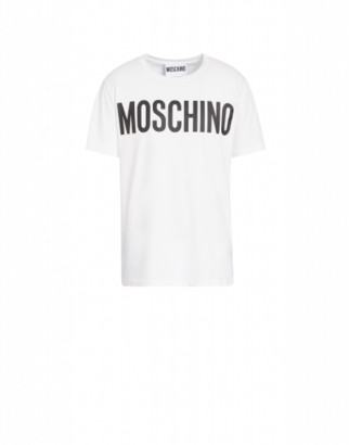 Moschino Cotton T-shirt With Logo Print Man White Size 44 It - (34 Us)