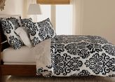 Ethan Allen Embroidered Linen Damask King Duvet Cover, Black and White