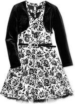 Beautees 2-Pc. Floral Skater Dress and Shrug Set, Big Girls (7-16)