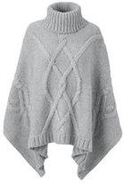 Classic Women's Aran Cable Poncho Sweater-Soft Sky Blue Fairisle