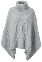 Classic Women's Plus Size Aran Cable Poncho Sweater-Cherry Jam