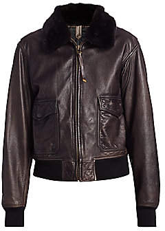 RE/DONE Women's 40s Flight Faux Shearling-Collar Leather Jacket