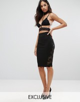NaaNaa Lace Midi Skirt with Lace Insert