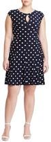 Lauren Ralph Lauren Plus Size Women's Polka Dot Jersey Fit & Flare Dress