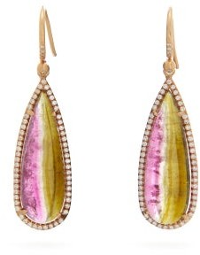 Irene Neuwirth - Watermelon Tourmaline & Diamond Earrings - Womens - Pink