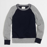 J.Crew Factory Boys' cotton colorblock striped-trim sweatshirt