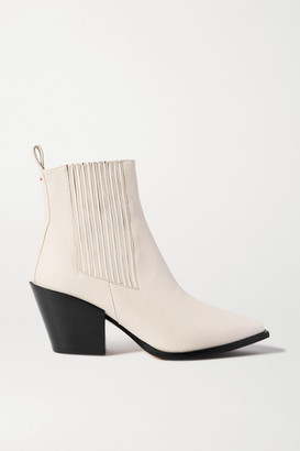 AEYDĒ Kate Leather Ankle Boots - Off-white