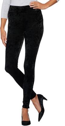 Logo by Lori Goldstein Panne Velvet Leggings with Zipper Detail