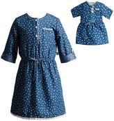 Dollie & Me Girls 4-14 Lace Polka-Dot Denim Dress
