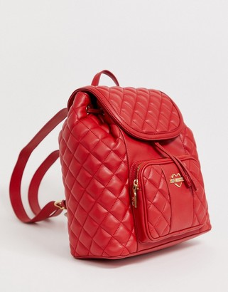 Love Moschino quilted faux leather backpack-Red
