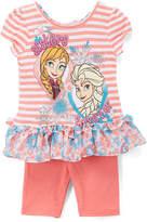 Children's Apparel Network Frozen Orange & White Stripe Ruffle Tee & Shorts - Toddler