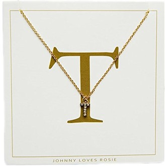 Johnny Loves Rosie Women Gold Plated Glass Chain Necklace of Length 48cm T Initial Gift Card