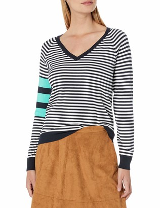 525 America Women's V Neck Stripe Sweater