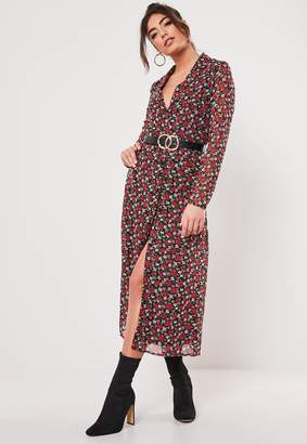 Missguided Red Floral Button Down Midi Dress