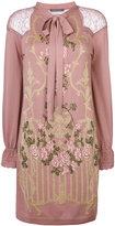 Alberta Ferretti floral lace shoulder dress - women - Polyamide/Virgin Wool - 38