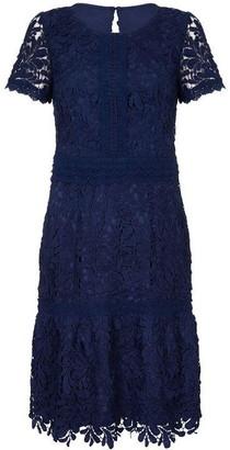 Yumi Lace Print Classy Neckline Bodycon Dress