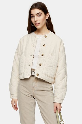 Topshop Womens Sand Lightweight Quilted Jacket - Sand