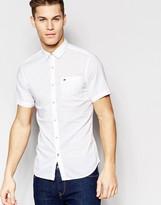 Tommy Hilfiger Poplin Shirt In White Regular Fit WithShort Sleeves