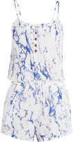 Lemlem Hana marble-effect silk playsuit