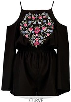 boohoo Plus Embroidered Cold Shoulder Playsuit
