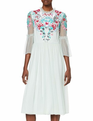 Frock and Frill Women's Isla 3/4 Frill Sleeve Embellished Midi Dress Party