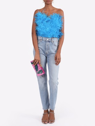 ATTICO Feathered Strapless Top