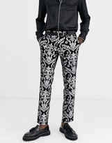 Twisted Tailor Skinny velvet suit pants with silver print in black