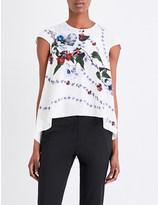 Erdem Cap sleeve floral-print silk top