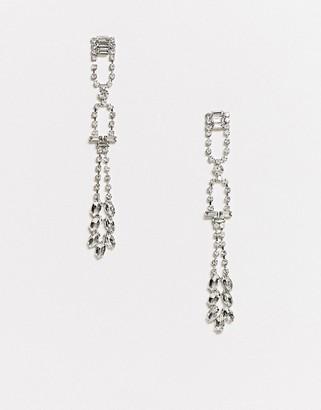 True Decadence crystal statement drop earrings in silver