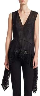 Altuzarra Silk Lace-Hem Handkerchief Top