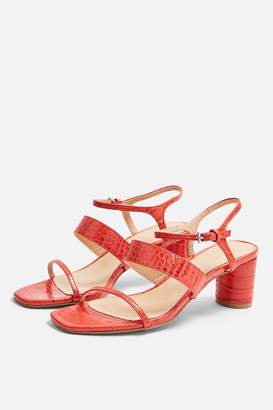 Topshop Womens **Wide Fit Dita Red Strap Sandals - Red