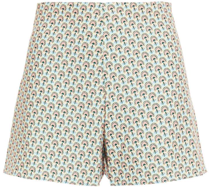 Alice + Olivia Solstice Printed Crepe Shorts