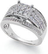 Macy's Diamond Square Cluster Multi-Row Engagement Ring (1 ct. t.w.) in 14k White Gold