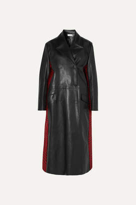 Alexander McQueen Double-breasted Leather And Houndstooth Wool Coat - Black