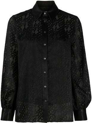 Karl Lagerfeld Paris Logo Print Button-Up Shirt