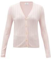 Allude V-neck Wide-rib Merino-wool Cardigan - Womens - Light Pink