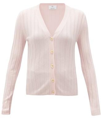 Allude V-neck Wide-rib Merino-wool Cardigan - Light Pink