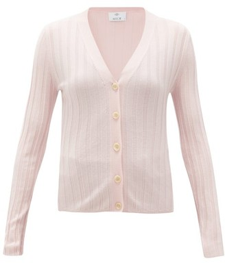 Allude V-neck Wide-rib Merino-wool Cardigan - Womens - Light Pink