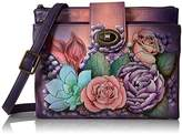 Anuschka Handpainted Rfid Blocking Double Zip Crossbody Organizer Lush Lilac