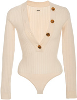 Khaite Ribbed-Knit Wool Sweater Bodysuit