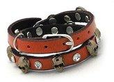 Beautiful Silver Jewelry Women's Skull Stud Burnt Orange Leather Double 2x Wrap Buckle Bracelet in Gift Box